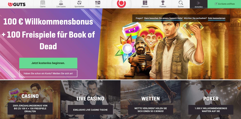 Startseite des Guts Casino