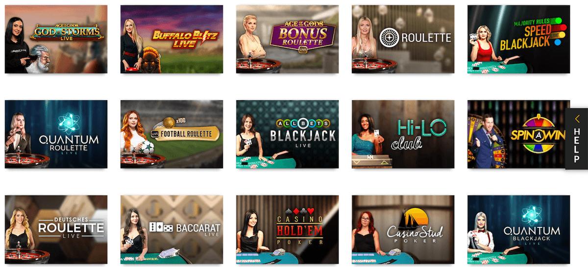 LIve Casino Übersicht bei Slotsmillion