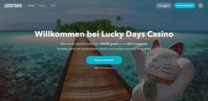 Startseite des Lucky Days Casino
