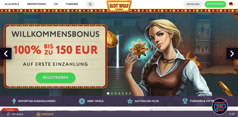 Startseite beim Slotwolf Casino