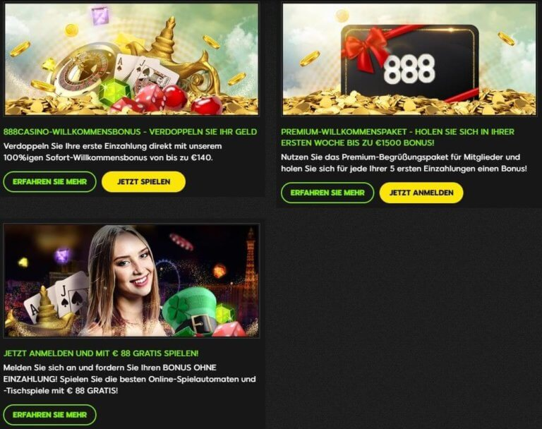 888 Casino Willkommensbonus