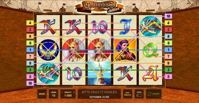 Columbus Deluxe Gewinnlinien