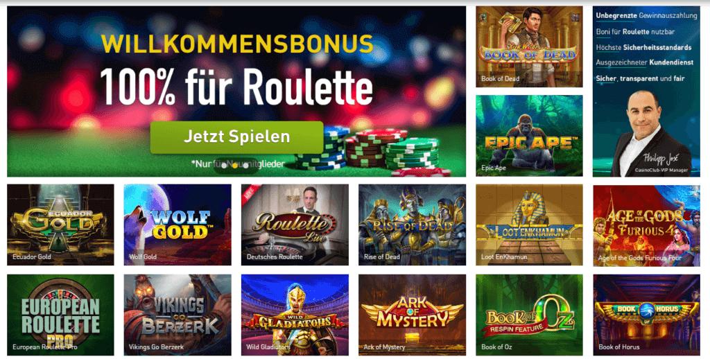 Casino Club Spielauswahl