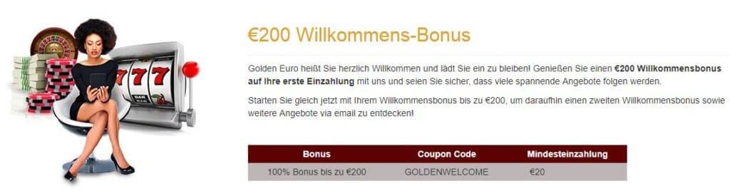 Golden Euro Casino Willkommensbonus