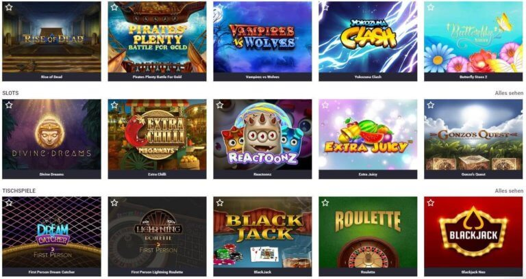 Guts Casino Spielauswahl
