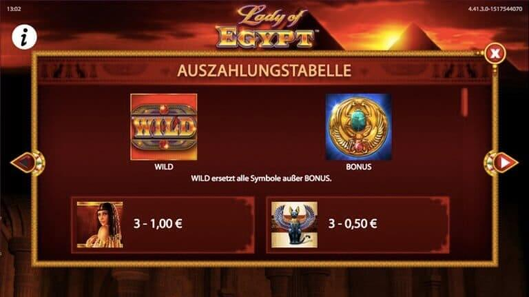 Lady of Egypt Slot Paytable