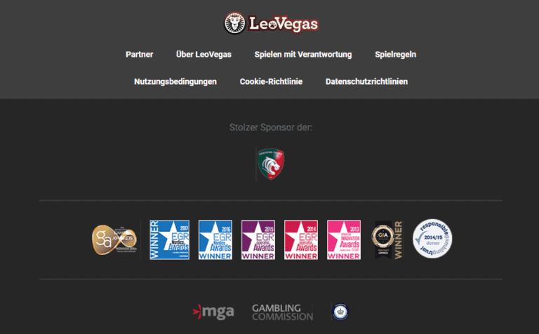 Leo Vegas Footer