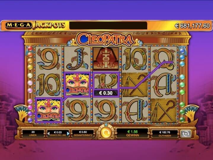 Cleopatra Mega Jackpots Slot Win