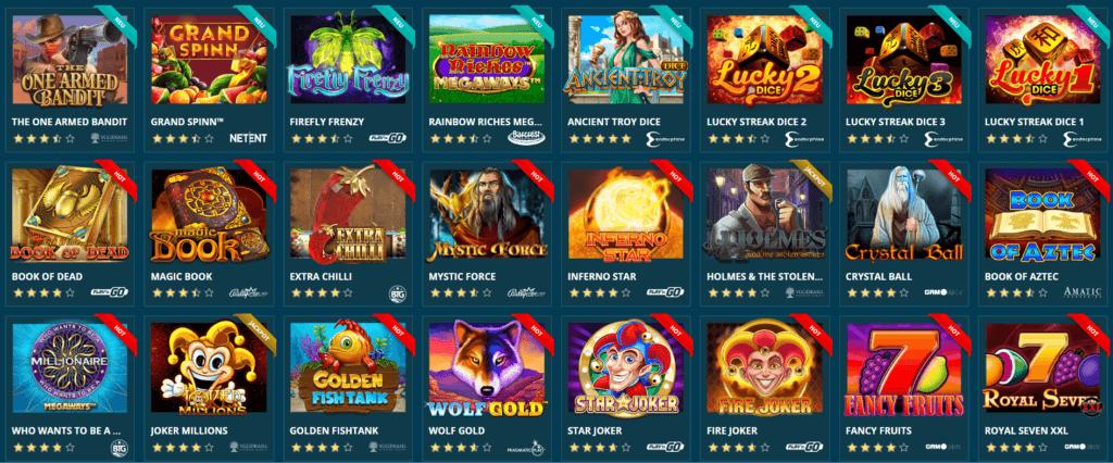 Platin Casino Spielauswahl