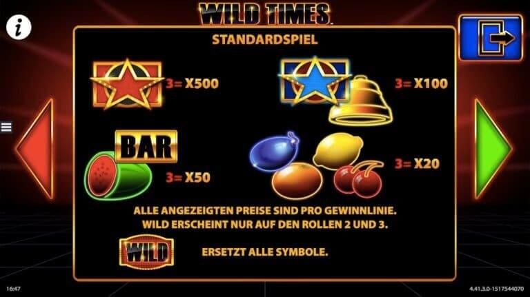 Wild Times Slot Paytable